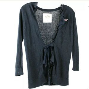 Hollister Womens Small Tie Up Navy Cardigan